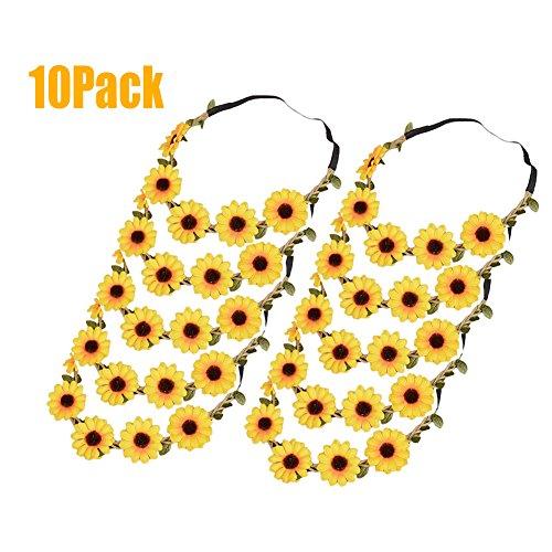 (Qingsun 10Pack Bohemian Flower Crown Sunflower Headbands Hair Band for Baby Hair Accessories)