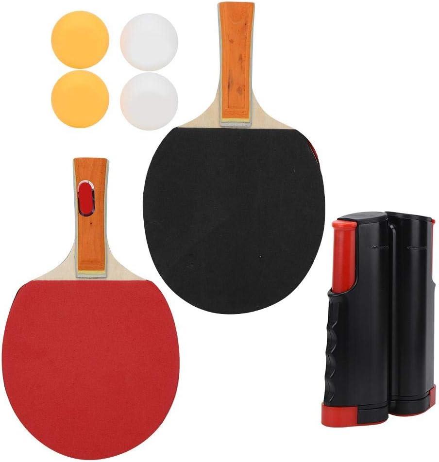 Alomejor1 Juego de Tenis de Mesa Juego de Paleta de Ping Pong portátil con Raquetas telescópicas de Red Balones de Ping Pong