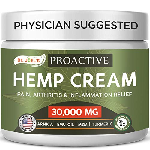 Proactive Hemp Pain Relief Cream - 30,000 MG - Maximum Strength Muscle, Joint & Arthritis Relief Cream - Made & 3rd Party Tested in USA