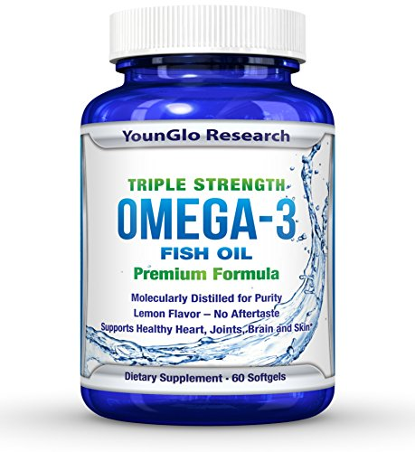 Fish Oil Pills - Pharmaceutical Quality - Triple Strength Omega 3 Burpless Capsules (1 Pack) -
