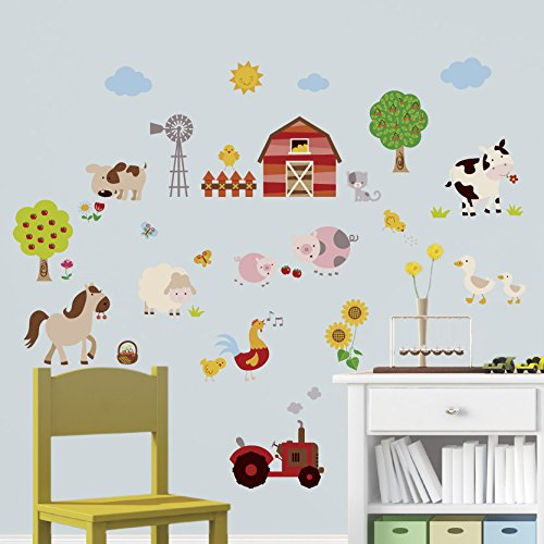 Farm Friends Baby/Nursery Peel & Stick Wall Art Sticker Decal by CherryCreek Decals (Image #1)