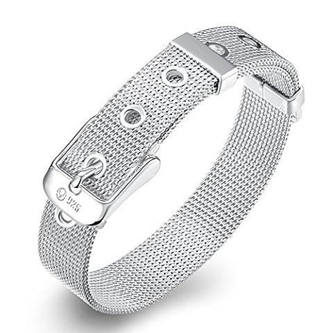 FENDINA Mesh Belt 925 Sterling Silver Plated Chain Bracelet Buckle Clasp Couples Bracelets 10MM (Sterling Silver Charns)
