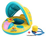 ANTTAA Inflatable Baby Pool Float Swimming Ring Baby Seat Boat Toy with Sun Canopy and Air Pump for the Age 6-36 months Toddler Kids -Yellow