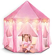 FoxPrint Castle Princess Tents for Little Girls with Lights, Soft Fairy Star Lighting for Indoor and Outdoor P