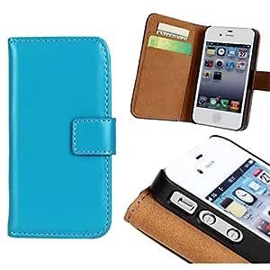 CHSH Cover para Apple iPhone 4 4G 4S Caballo Skin Patrón Monedero Funda de Genuino Cuero cáscara con cierre magnético tarjeta efectivo espacio y soporte Claro Azul