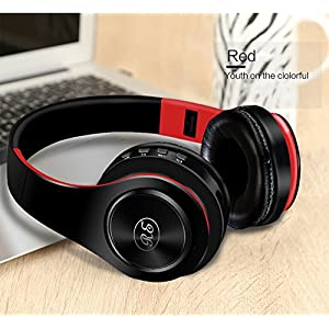 Bluetooth Headphones, OMorc Wireless Foldable Over-Ear Hi-Fi Stereo Headset With Noise Cancelling Microphone, Supports Hands-Free Calling and Wired Mode for PC/ Cell Phones/ TV (red)