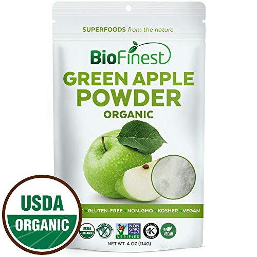 Biofinest Green Apple Powder -100% Pure Antioxidants Superfood - USDA Certified Organic Kosher Vegan Raw Non-GMO - Boost Digestion Detox Weight Loss - for Smoothie Beverage (4 oz Resealable Bag)