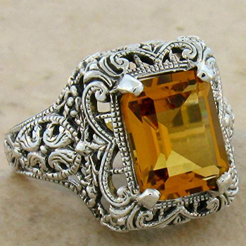 4 CT. Hydro Citrine Antique Filigree Design .925 Sterling Silver Ring SZ 9 ()