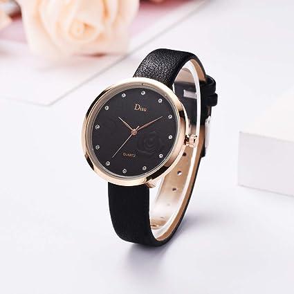 Reloj de pulsera de cuarzo con esfera de color rosa y ...