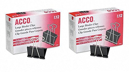 ACCO Binder Clips, Large, 12 Clips/Box, 2 Pack (A7072102) by ACCO Brands (Image #2)