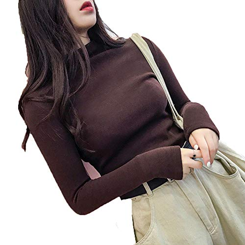 CAIYCAI Turtleneck Sweater Women Pullover Winter Clothes Women Streetwear Thin Wool Long Sleeve Coffee XL (London Package Christmas In Vacation)