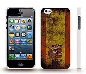 iStar Cases? iPhone 5/5S Case with Spain Flag Antique Grunge Look Design , Snap-on Cover, Hard Carrying Case (White)