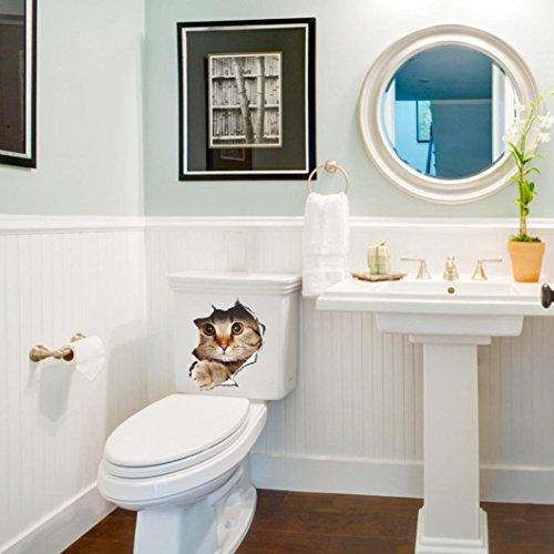 Cat Toilet Seat Wall Sticker, Oksale 8.3'' x 11.4'', Bathroom Removable PVC Wallpaper Home Decor Applique Papers Mural by Oksale® (Image #2)