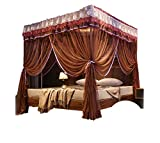 Mosquito net Double Bed on The Floor Princess Wind Hanging Type Home Bedroom Insect-Proof Children's Yarn Account Summer encryption, Brown, 2.0M