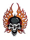 Skull Hemlet Cool Large Patches Badge Appliques Look Cool Embroidered Iron on Sew for Biker Trucker Rocker Chopper Military Army Jacket Jeans Cap Shirt by tattoo fabric