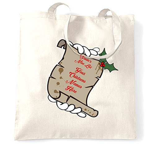 Santa's Nice List Tote Bag Your Childrens Names Here White One Size