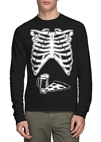 HAASE UNLIMITED Long Sleeve Mens Ribcage with Pizza and Beer Halloween Shirt