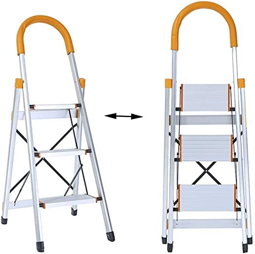 XSJZ Escalera Multifunción, Aleación de Aluminio de 3 Pasos Plegable Escalera En Espiga, Antideslizante, Ultraligera, Escalada Escalera Ascendente Ascendente Escalera Plegable: Amazon.es: Hogar
