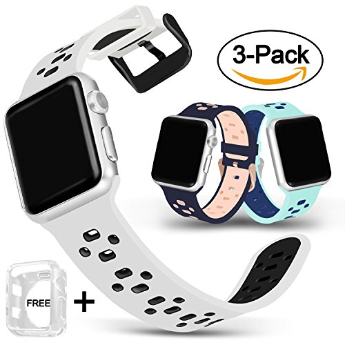For Apple Watch Bands 42mm, Jobese Soft Breathable Sport Bands with Crystal Protective Case for Apple Watch Series 3, Series 1&2, Nike & Edition Silicone Accessories Wristbands, 3 (3 Pack Wristband)