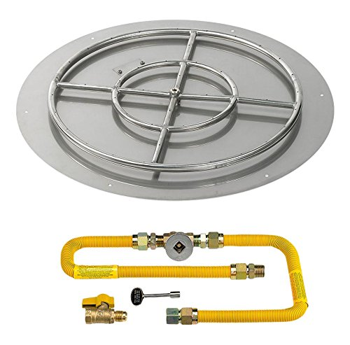 American Fireglass Round Stainless Steel Flat Pan with Match Light Kit ()