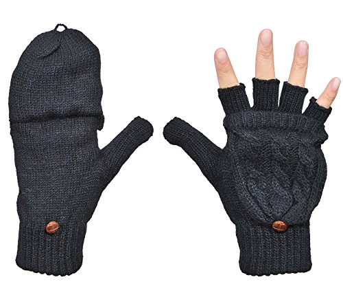 Beurlike Women's Winter Gloves Warm Wool Knitted Convertible Fingerless Mittens (Black)