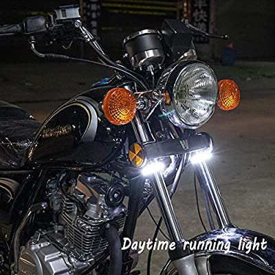 CoCsmart 2PC Flexible Switchback Dual-Color White & Amber Motorcycle LED Fork Turn Signal Blinkers DRL Daytime Running Light Waterproof Adjustable Stips Bars kit Universal Fit Motorbike (39mm-70mm): Automotive