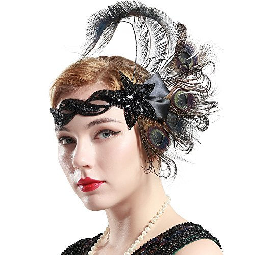 (BABEYOND 1920s Flapper Peacock Feather Headband 20s Sequined Showgirl Headpiece (Style-5))