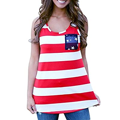 FAVOLOOK Women American Patriots Flag Print Tank Top Tee Shirt Blouse