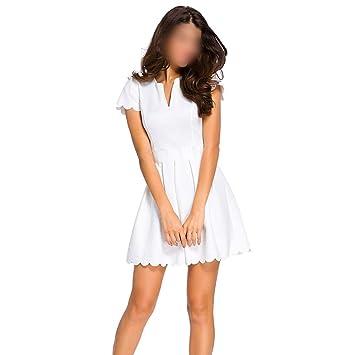 ZSRHH-Falda Vestido de Mujer Vestido de Fiesta de Manga Corta con ...