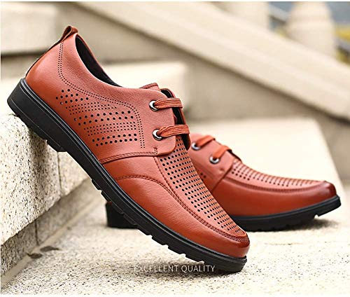 tamaño Hombres de 41 los de 42 Color Hombres de HhGold Negocio Ocasionales Marrón Zapatos de MARRÓN Cuero Zapatos Color del Vestir los Huecos Respirables tamaño Formales Negro 0ww4R5q