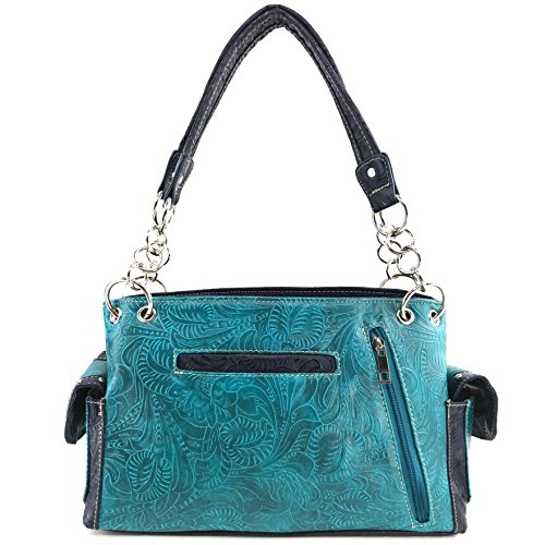 Turquoise Feathers Tooled Concealed Handbag Justin Turquoise Handbag Carry Purse Wallet Stone Concho Set Studs West Western IqCRwC5
