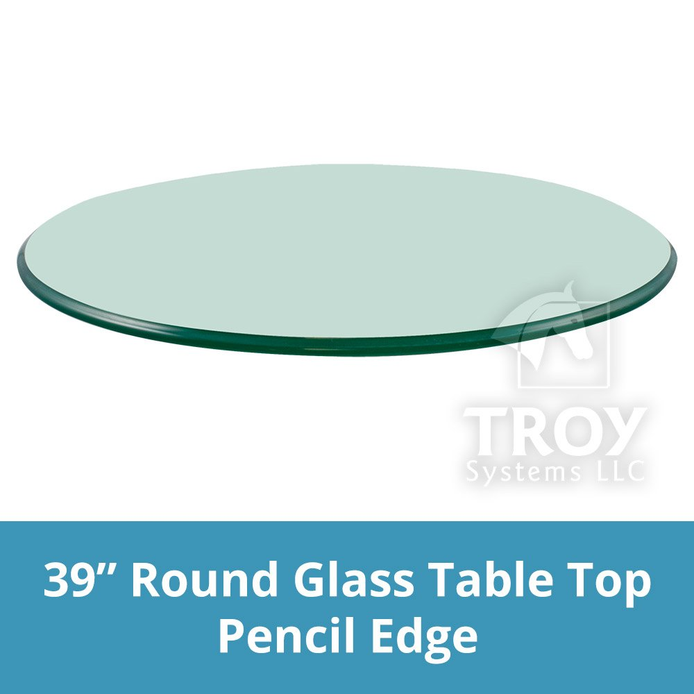 TroySys Glass Table Top Round, 3/8'' Thick, Pencil Polish Edge, Tempered Glass, 39'' L