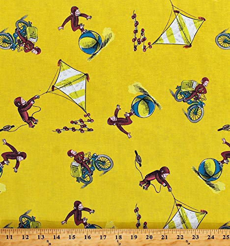 Cotton Curious George Monkeys Kites Balls Toys Playing Delivering Papers Kids Yellow Cotton Fabric Print by The Yard ()