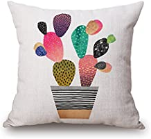 WYD Cartoon Cactus Cushion Cover Throw Pillow Case 18 inch Retro Vintage Cotton Linen Sofa Car Home Decor Pillow Case