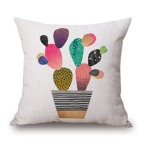 51pxA8dSz2L - WYD Cartoon Cactus Cushion Cover Throw Pillow Case 18 inch Retro Vintage Cotton Linen Sofa Car Home Decor Pillow Case