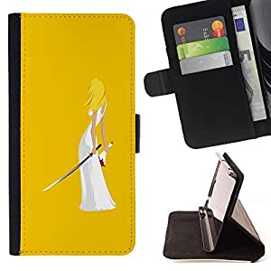 For Samsung Galaxy S3 III i9300 i747 Case , Matar Arte Ninja Espada Mujer Rubia boda- la tarjeta de Crédito Slots PU Funda de cuero Monedero caso cubierta de piel