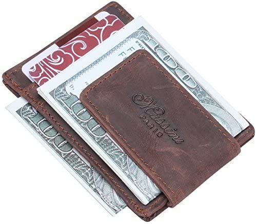 Win/&Income Genuine Crazy Horse Leather Wallet Purse ID Credit Card Holder Money Clip,Brown