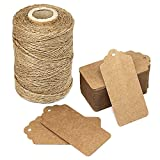 100Pieces Kraft Paper Thanksgiving Gift Wrap Tags with String Blank labeling tags Bonbonniere Favor Wedding Hang Tags Vintage Tags Christmas DIY Craft Decor Tags with 328 Feet Natural Jute Twine