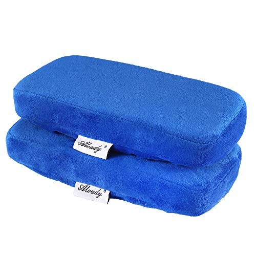 Aloudy Ergonomic Memory Foam Office Chair Armrest Pads, Comfy Gaming Chair Arm Rest Covers for Elbows and Forearms Pressure Relief(Set of 2) (Blue)