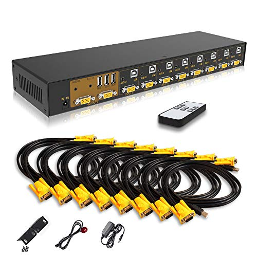 eKL VGA KVM Switch 8 Port in 2 Out Switcher 8x2 Supports Wireless Keyboard and Mouse Audio USB 2.0 Devices Sharing 8 Computers with Remote Control