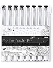 Fineliner Drawing Pen, Ohuhu Set of 8 Pack Ultra Fine Line Drawing Markers, 8 Assorted Tip Sizes, 7 Fine Tip Markers with a Brush Tip, Black Ink
