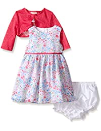Baby Girls' Floral Dress With Lace Jacket