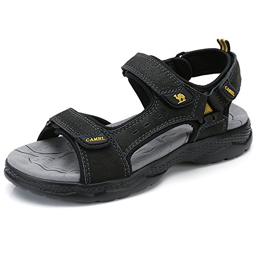 Camel Leather Sandals for Men Strap Athletic Shoes Hiking Sandals for Walking Beach Outdoor Summer Black 250 CN