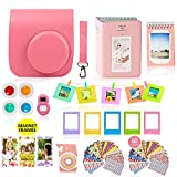 Fujifilm Instax Mini 9 Camera Accessories Bundle, FLAMINGO PINK Fuji 14 PC Kit Includes: Instax Case + Strap, 2 Albums, Filters, Selfie lens, Magnets + Hanging + Creative Frames, 60 stickers, Gift Set