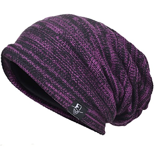 Slouch Beanie - VECRY Men's Cool Cotton Beanie Slouch Skull Cap Long Baggy Hip-hop Winter Summer Hat (Twill-Purple)