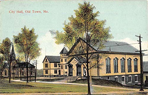Old Town Maine City Hall Street View Antique Postcard K104240