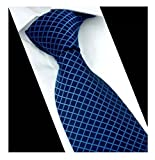 Men Narrow Navy Blue Check Woven Silk Tie Regular Soft Business Big Boys Necktie