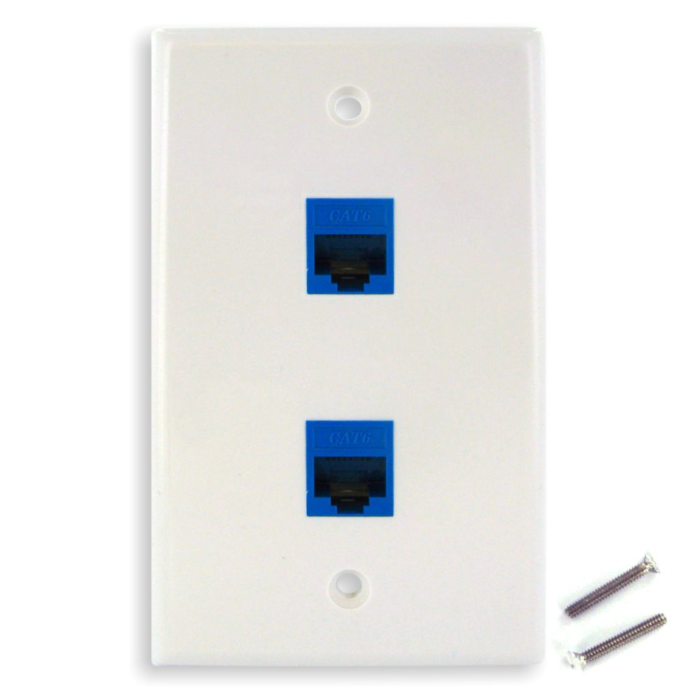 Amazon.com: New Dual CAT6 Ethernet Jacks w/ Keystone Wall Plate: Electronics