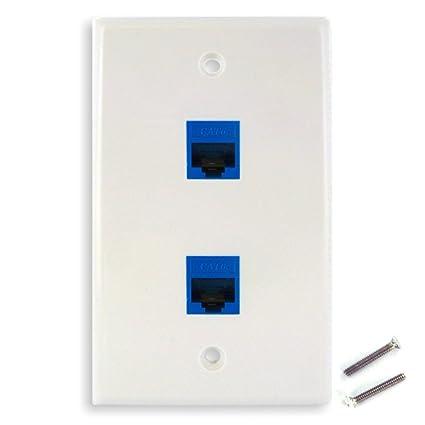 Miraculous Amazon Com New Dual Cat6 Ethernet Jacks W Keystone Wall Plate Wiring Digital Resources Indicompassionincorg