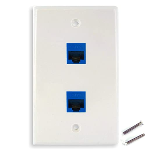 Amazon.com: New Dual CAT6 Ethernet Jacks w/ Keystone Wall Plate ...